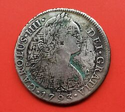 🔥very Rare🔥silver Coin 8 Reales Carlos Iv 1793 Lima Ink Chop Applied China.