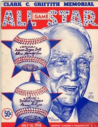 1956 All Star Game Program Signed By 19 W/ 9 Hall Of Famers Mays Musial Fox Wynn