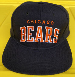 Vintage 90s Chicago Bears Starter Arch 100 Wool Snapback Hat Cap White Tag