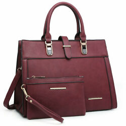 Dasein Women Faux Leather Top Handle Satchel Bags Purses with Matching Pouch $44.99