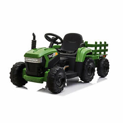12 Volt Battery Operated Toy Tractor W/trailer, Dark Green For Parts