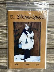Primitive Stitches And Sawdust Forest Snowman Bucket Trees Sewing Pattern Uncut