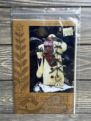 Primitive Katies Homespun Stitches Snowman With Stocking Tree Sewing Pattern Cut