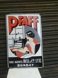 1940 Pfaff Sewing Machine Bells And Co Graphical Vintage Porcelain Enamel Sign