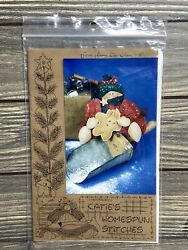 Primitive Katies Homespun Stitches Snowman With Cookie Sewing Pattern Uncut