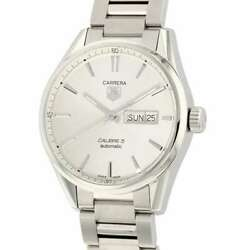 Tag Heuer Carrera Caliber 5 Day-date 41mm Stainless Steel Silver Dial War201...