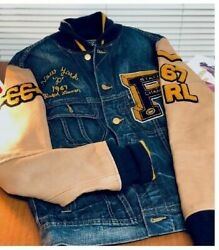 Rare Limited Edition Polo Varsity Letterman Denim And Leather Jacket