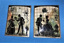 Set Of 2 Antique Large Silhouette Curved Convex Glass Pictures 6 X 8