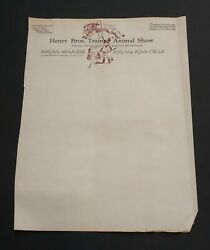 Henry Bros Trained Animal Show Letterhead African Menagerie Dog amp; Pony Circus