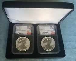 2021 W And S Reverse Proof Silver Eagle Type 1 And 2 Designer Set Pf70 Fdoi In Hand