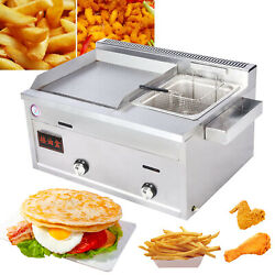 Commercial/household Gas Stainless Steel Flat Griddle And Single Deep Fryer Combo