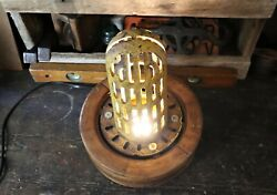 Repurposed Vintage Industrial Flat Pulley And Cast Iron Lamp Steampunk