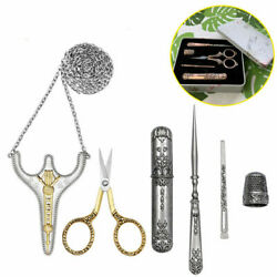 Stainless Steel Embroidery Scissors Thread Cutter Thimble Awl Sewing Needle Kits