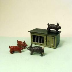 Vintage Lead Farm Johill Hutch + Two Adult Rabbits + Two Babies 1920s - 50s