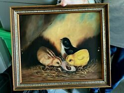 Antique Oil Painting Of Chicks