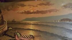 Vintage Luminous Painting W/ Depth Water Sunset Boats Mountain Village Colucci