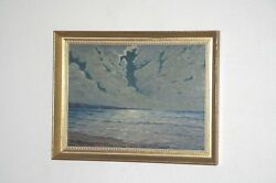 Listed Artist Seascape Oil On Board Seascape By Charles A. Sweet Moonlight Ocean