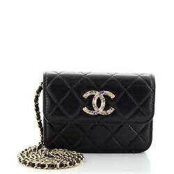 Clutch With Chain Quilted Lambskin With Zirconium Small