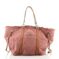 Double Face Deauville Tote Fringe Quilted Canvas Small