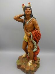 14 Vintage Native American Indian Warrior Universal Statuary Sculpture W/bow