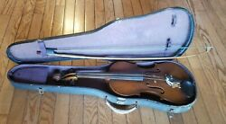 Antique Violin And Bow With Case - Unmarked