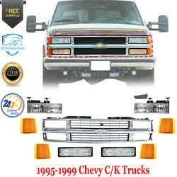 Front Grille Chrome + Head And Signal Lights For 1995-1999 Chevy C/k Series Pickup