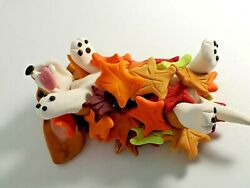 BASSET HOUND FALL Autumn ROLLING IN LEAVES Miniature Figurine HAND MADE ooak