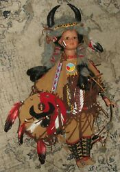 Large 26 Duck House Heirloom American Indian Girl Warrior Doll W/ Accessories