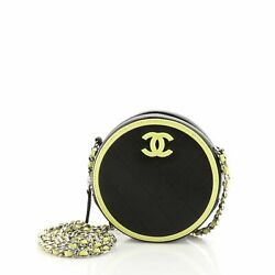 Round Clutch With Chain Quilted Lambskin Mini