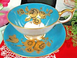 Aynsley Tea Cup And Saucer Blue And Gold Painted Rose Posey Teacup Athens 1930s
