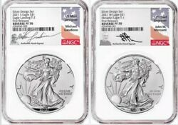 2021 Sandw Reverse Proof Silver Eagle 2 Coin Designer Set Pf70 First Releases