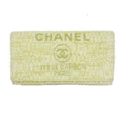 Long Wallet Deauville Bifolded Flap Coco Mark Canvas Lame Yellow White 25