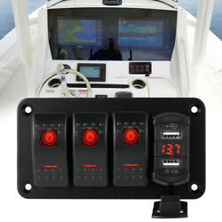 4 Gang Toggle Rocker Switch Panel Dual Usb For Car Boat Marine Rv Truck Red Led