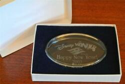 Disney 2003 Happy New Year Wonder Dcl Cruise Glass Paperweight