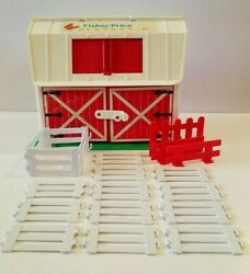 Vintage 1986 Fisher Price Toy Farm Barn + 19 Pcs Fence Moo Sound Little People
