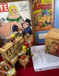Vintage Lil Abner Bonanza Windup Tin Litho Toy, Al Capp Autograph And More, Used