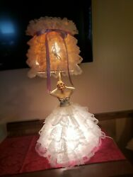 Vintage 1950and039s Ceramic Porcelain Sexy Lady Boudoir Doll Lamp 2 Bulbs W/ Shade