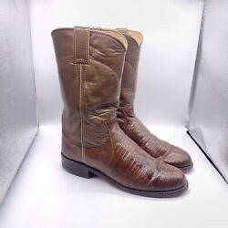 Imperfect Justin Outlet Lizard Skin Brown Boots Womens 5 B Model 3712 57069