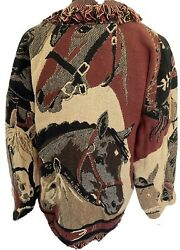 It#x27;s In The Bag Womens Tapestry Coat No Size Vintage Horses Southwest Western
