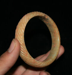 China Natural Hetian Old Jade Carved Pattern Bracelet Bangle Wristband Jewelry