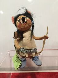 Annalee Dolls Native American Indian Mice Girl Papoose 1987 W/ Tag Mobiltee Doll