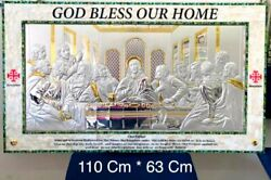 Large Wall Last Supper Silver-plated Mother Pearl Frame Art Handmade Jesus Cute