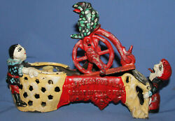 1875 Patent Stevens Co Jand E Cast Iron Bank Professor Pug Frog Great Bicycle Feat
