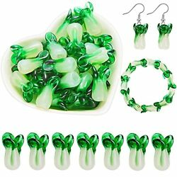 40 Pieces Cabbage Glass Loose Beads Lampwork Glass Beads Handmade Vegetable F...