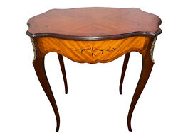 Vintage Inlaid And Painted Turtle Top French Style Table W/brass Ormolu