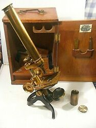 Antique Brass Microscope Franks Manchester And Accessories