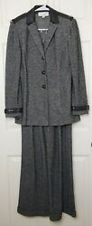 St John Collection Marie Gray 8 Jacket And Pants Set Pant Suit Black White