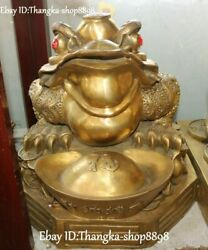 China Pure Bronze Wealth Money Coin Yuanbao Golden Toad Spittor Animal Statue