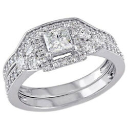 1-1/4 Ct Simulated Square Frame Vintage-style Bridal Set In 14k White Gold