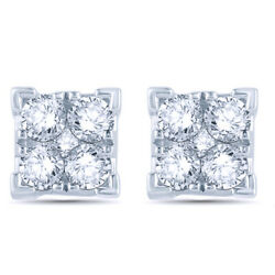 1/2 Ct Natural Diamond Square Stud Earrings In 10k White Gold